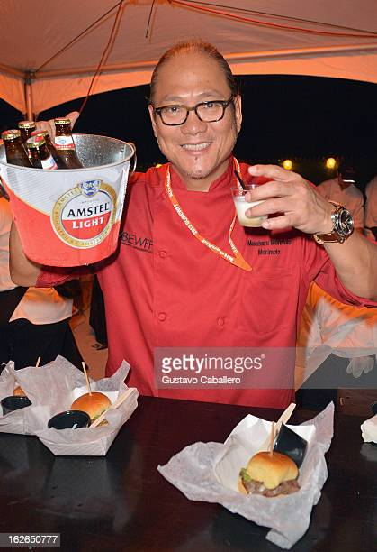 Chef Masaharu Morimoto serves up Amstel Light Frozen Beer Shakes at the Amstel Light Burger Bash during the Food Network South Beach Wine Food...