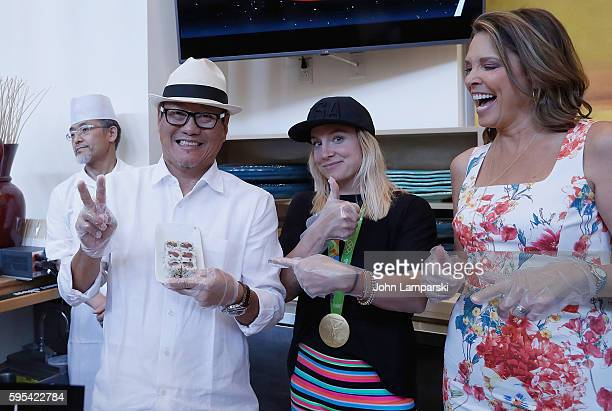 Chef Masaharu Morimoto US Olympian Bethany Maddox Sands and Hannah Storm attend 2016 US Open Media Food Tasting Preview at USTA Billie Jean King...