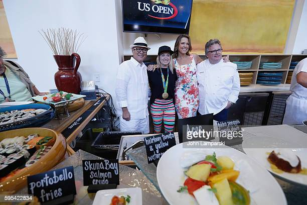 Chef Masaharu Morimoto US Olympian Bethany Maddox Sands Hannah Storm and Chef David Burke attend 2016 US Open Media Food Tasting Preview at USTA...