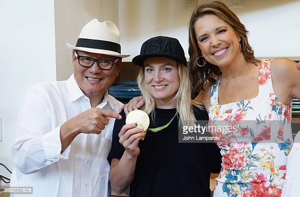 Chef Masahuru Morimoto US Olympian Bethany Maddox Sands and Hannah Storm attend 2016 US Open Media Food Tasting Preview at USTA Billie Jean King...