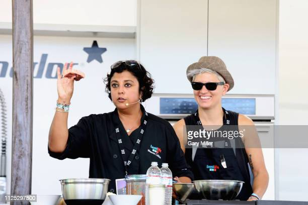 Chef Maureen Cubbon gives a cooking demonstration during the sold out inaugural KAABOO Cayman Festival at Seven Mile Beach on February 15 2019 in...