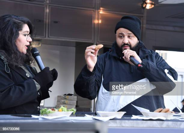 Chef Melissa and DJ Khaled attend Weight Watchers Kitchen Tour Special Surprise at Roundhouse Park on March 19 2018 in Toronto Canada