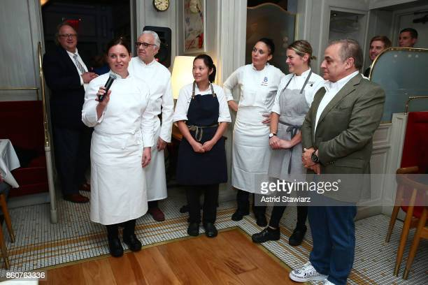 Chef Melissa Rodriguez speaks during the Alain Ducasse celebration of women in the kitchen part of the Bank of America Dinner Series presented by The...