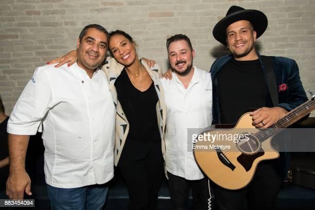 Chef Michael Mina musician Amanda Sudano Adam Sobel and musician Abner Ramirez of 'Johnny Swim' attend 'Cal Mare by chef Adam Sobel grand opening...