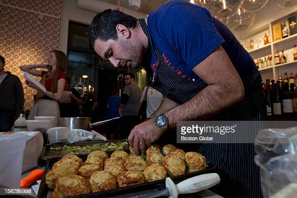 Chef Michael Scelfo from the Russel House Tavern in Cambridge preparing torched Delicata squash with Cabot clothbound cheddar biscuit, maple & ginger...