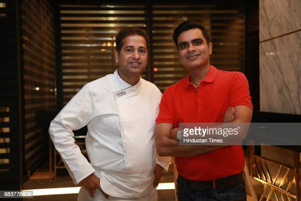 Chef Michael Swamy with Vikrant Batra during special dinner for Royal Challengers Bangalore teammates by Virat Kohli at his new restaurant Nueva RK...
