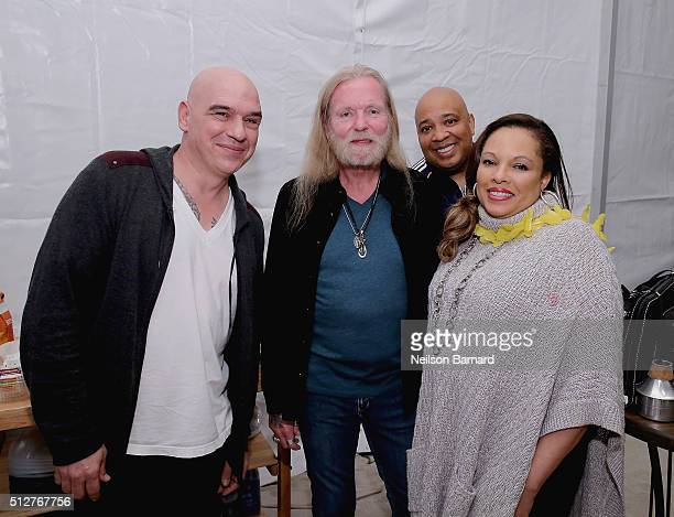 Chef Michael Symon Musician Gregg Allman Reverend Run and Justine Simmons attend the MasterCard Priceless® Preview Meatopia Presented By Creekstone...
