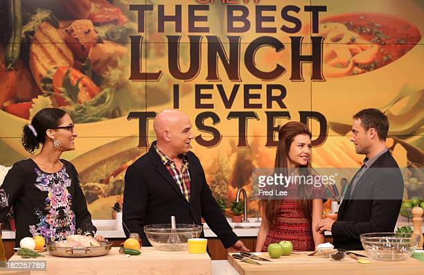 THE CHEW Chef Michael Symon prepares a lunch for Stuart Townsend and Hannah Ware of ABC's steamy new drama 'Betrayal' today September 26 2013 on...