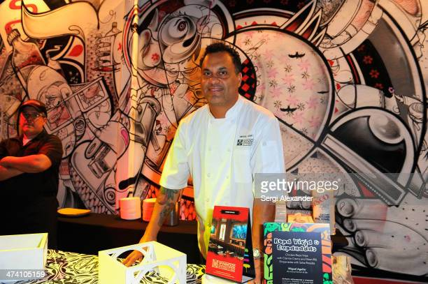 Chef Miguel Aguilar attends Botran's Medianoches Mixology presented by Smithfield At Wynwood Walls hosted by Anne Burrell and Emilio Estefan during...