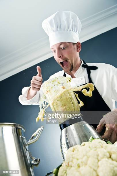 Chef mixing vegetables - Splashing