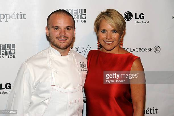 Chef Nate Appleman and journalist Katie Couric attend Mariska Hargitay's Joyful Heart Foundation dinner at the Bon Appetit Supper Club and Cafe on...