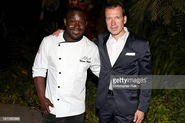 Chef Nelson Mueller and CEO of Porsche Design Group Juergen Gessler attend Porsche Design's 40th Anniversary Event held at a private residence on...