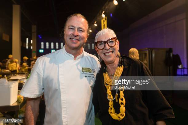 Chef Niel Perry and OzHarvest CEO pose for a picture during theOzHarvest CEO Cookoff on March 25 2019 in Sydney Australia