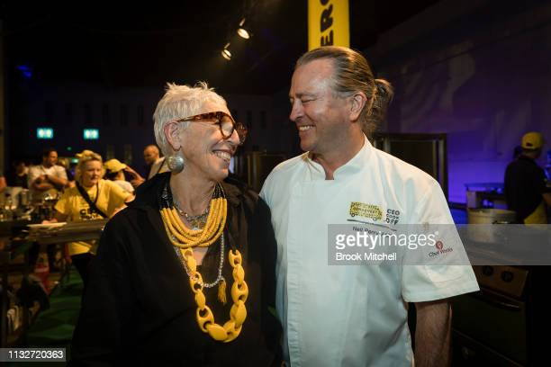 Chef Niel Perry poses with OzHarvest CEO Ronni Kahn during the OzHarvest CEO Cookoff on March 25 2019 in Sydney Australia