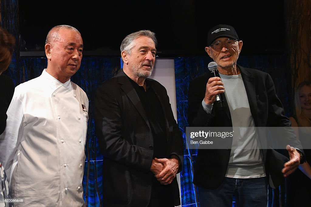 Chef Nobu Matsuhis, actor Robert DeNiro and producer Meir Teper speak onstage during the Nobu Hotel Miami Beach launch VIP cocktail at Nobu Next Door on November 7, 2016 in New York City.