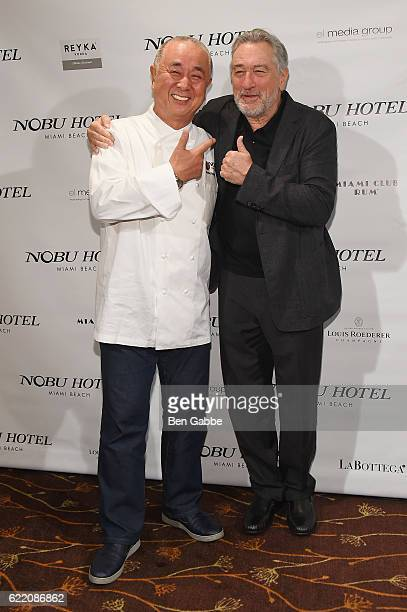 Chef Nobu Matsuhisa and actor Robert DeNiro attend Nobu Hotel Miami Beach launch VIP cocktail at Nobu Next Door on November 7 2016 in New York City