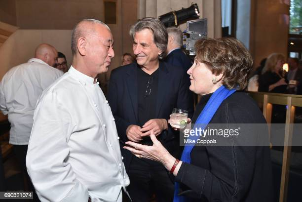 Chef Nobu Matsuhisa David Rockwell and Nina Zagat attend the Nobu Downtown Sake Ceremony at Nobu Downtown on May 30 2017 in New York City