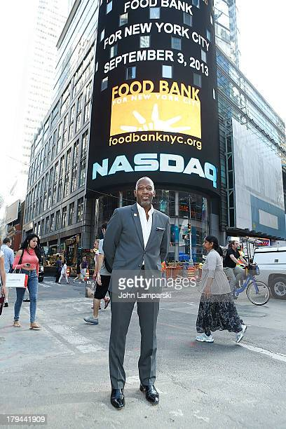Chef of Food Bank Madison Bowan rings the closing bell at NASDAQ on September 3 2013 in New York City