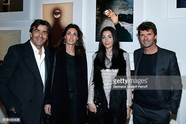 Chef of restaurant pavillon Ledoyen Yannick Alleno and his wife Laurence with CEO of Mazarine Group and Founder of 'Studio des Acacias' PaulEmmanuel...