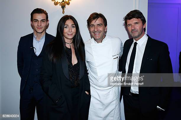 Chef of the Pavillon Ledoyen Yannick Alleno his son Thomas Alleno PaulEmmanuel Reiffers and his wife Margaux attend the Annual Charity Dinner hosted...