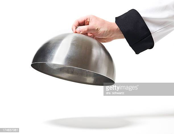 chef opening cloche lid - lid stock pictures, royalty-free photos & images