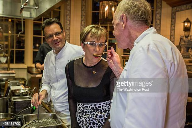 Chef Patrick O'Connell in the kitchen at the Inn of Little Washington with Chef Patrick Bertron of Relais Bernard Loiseau and proprietress of Le...