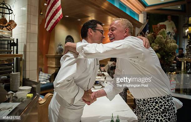 Chef Patrick O'Connell of the Inn at Little Washington and Chef Patrick Bertron of Relais Bernard Loiseau congratulate eachother after serving the...
