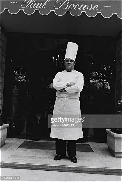 Chef Paul Bocuse in front of his Restaurant during April 1981 in CollongesauMont d'OrFrance