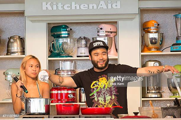 Chef Paul Qui hosts 'Ktiss the Chef' during the fourth annual Austin FOOD WINE Festival at Auditorium Shores on April 25 2015 in Austin Texas