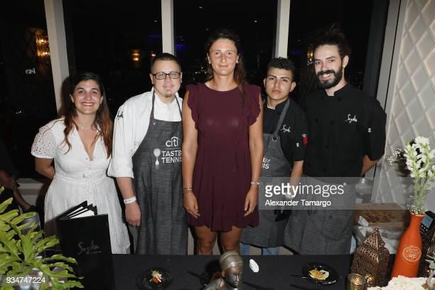 Chef Pedro Lopez and Irina Camelia Begu pose at the Citi Taste Of Tennis Miami 2018 at W Miami on March 19 2018 in Miami Florida