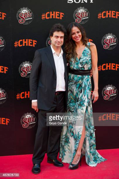 Chef Pepe Rodriguez and TV Presenter Eva Gonzalez attends 'Chef' Madrid premiere at the Callao cinema on July 24 2014 in Madrid Spain