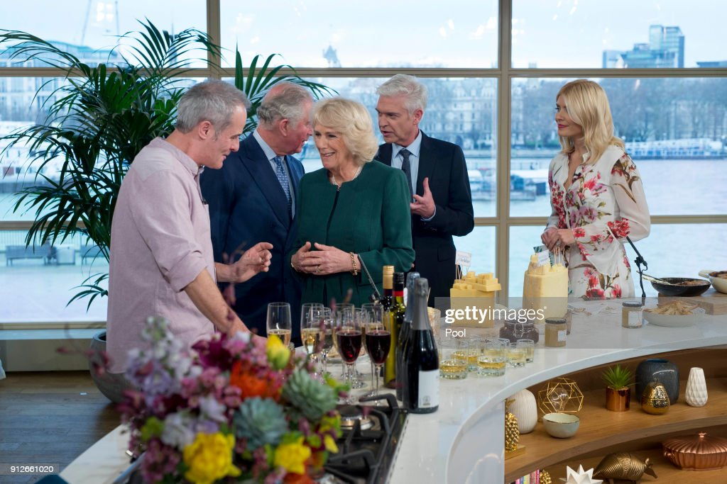 Chef Phil Vickery, Prince Charles, Prince of Wales, Camilla, Duchess of Cornwall and presenters Philip Schofield and Holly Willoughby chat as the royal couple visit ITV's 'This Morning' to celebrate the 90th anniversary of the Royal Television Society at London Television Centre on January 31, 2018 in London, United Kingdom.