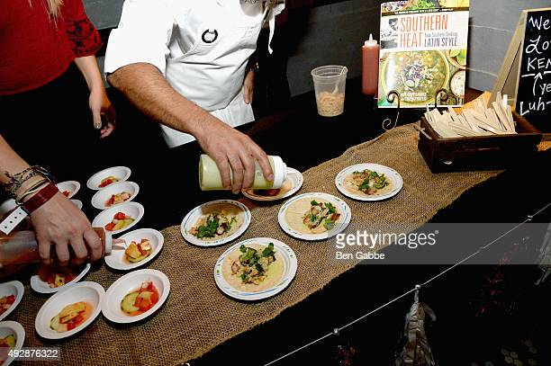 A chef prepares food durinng Tacos Tequila presented by Mexico hosted by Aaron Sanchez during Food Network Cooking Channel New York City Wine Food...