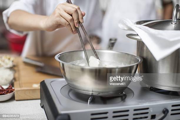 Chef preparing dim sum in cooking course