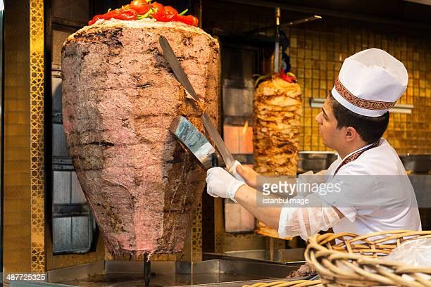 Chef preparing kebabs for sale