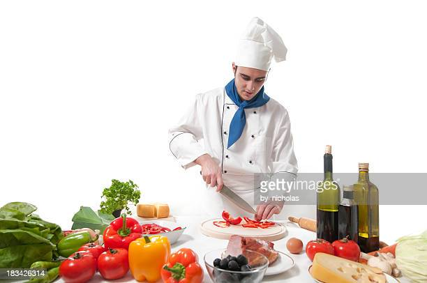 Chef preparing recipe, isolated on white