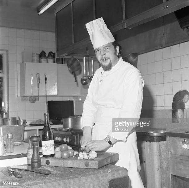 Chef preparing the evening meal at the Seighford Hall Hotel Circa June 1974