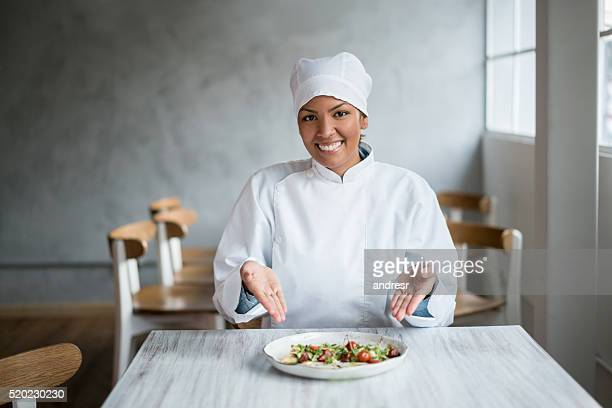Chef presenting a plate