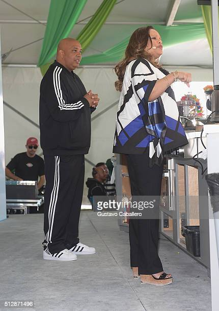 Chef Rev Run and Chef Justine Zimmons speak at the Goya Foods Grand Tasting Village featuring MasterCard Grand Tasting Tents KitchenAid® Culinary...