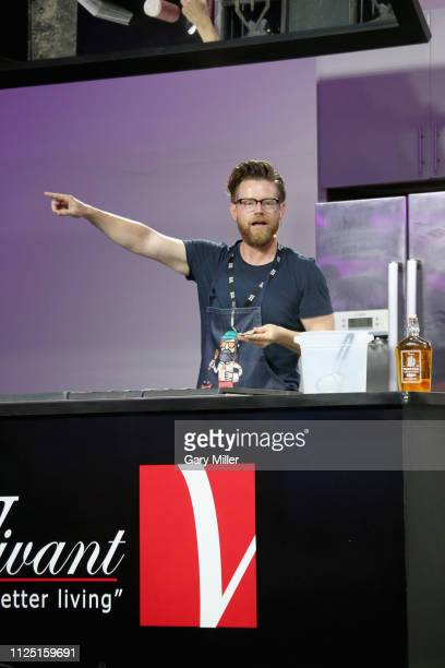 Chef Richard Blais gives a cooking demonstration during the sold out inaugural KAABOO Cayman Festival at Seven Mile Beach on February 15 2019 in...