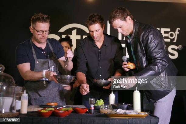 Chef Richard Blais Mike Bryan and Bob Bryan take part in a cooking demonstration during the Citi Taste of Tennis at Hyatt Regency Indian Wells Resort...