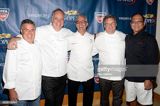 Chef Richard Sandoval Chef Tony Mantuano Chef Jim Abbey Chef David Burke and Chef Masaharu Morimoto attend the US Open Food Tasting Preview at Aces...