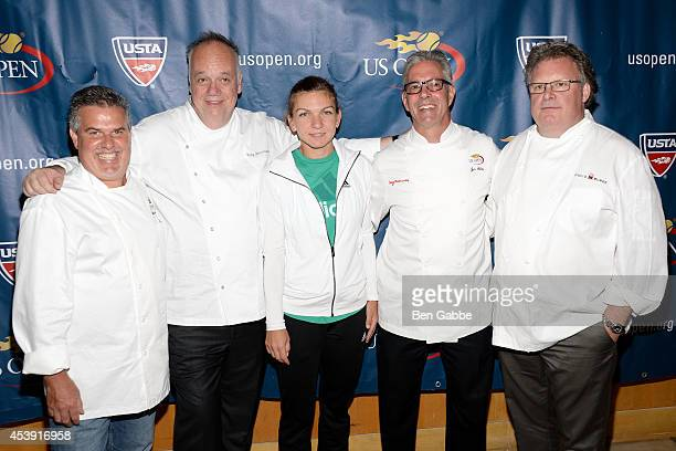 Chef Richard Sandoval Chef Tony Mantuano tennis player Simona Halep Chef Jim Abbey and Chef David Burke attend the US Open Food Tasting Preview at...