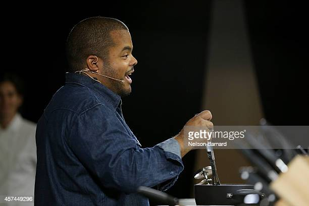 Chef Roger Mooking conducts a presentation at KitchenAid stage at the Grand Tasting presented by ShopRite featuring KitchenAid® culinary...