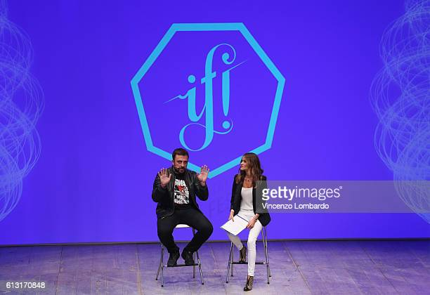 07 Chef Rubio and Chiara Samori speak onstage during the IF Italians Festival 2016 at Franco Parenti Theater on October 7 2016 in Milan Italy