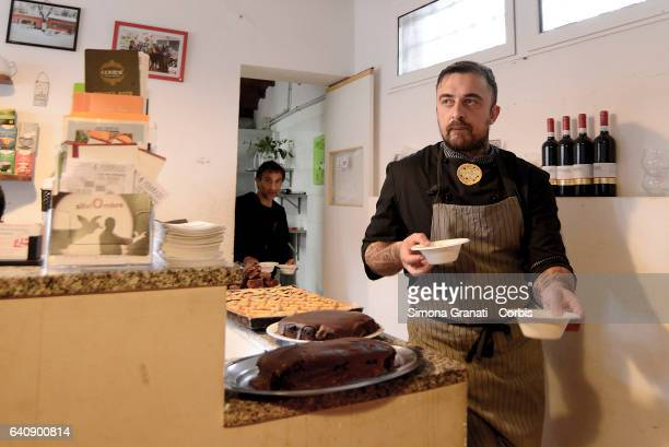 Chef Rubio cooking at the presentation of Meal Suspended at Casetta Rossa in Garbatellaon February 2 2017 in Rome Italy The initiative promotes the...