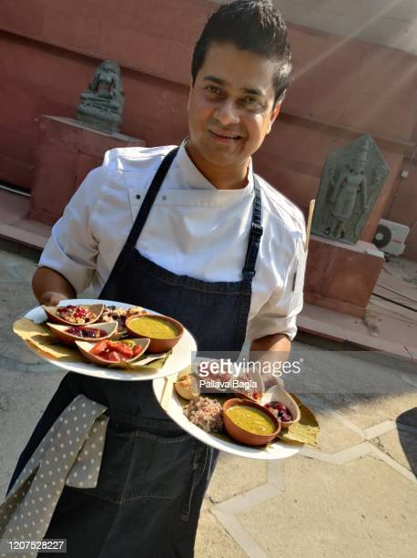 Chef Saby with a food platter of the Indus Foods Valley Civilisation on February 20 2020 in New Delhi India What did humans eat 5000 years ago in one...