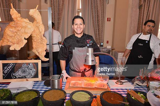 Chef Santiago Gomez serves food during 2016 Food Network Cooking Channel South Beach Wine Food Festival Presented By FOOD WINE at Biltmore Hotel...