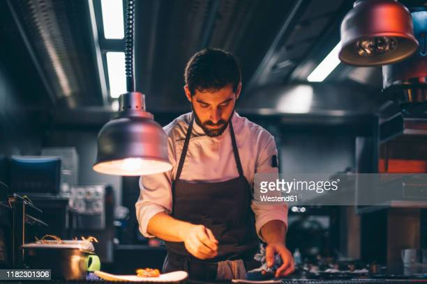 chef serving food on plates in the kitchen of a restaurant - chef stock pictures, royalty-free photos & images