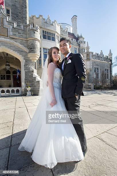 Chef Solomon Chau and Jenn Carter pose outside Casa Loma for their surprise wedding Chau has terminal cancer